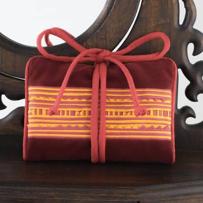 Cotton blend jewelry roll, Precious Hill Tribe in Red