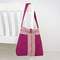 Cotton shoulder bag, 'Thai Glitter' - Cotton Shoulder Bag with Cotton Lining and Button Closure