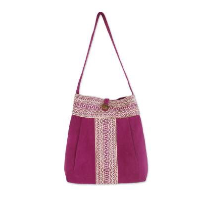 Cotton Shoulder Bag with Cotton Lining and Button Closure