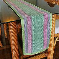 Cotton blend table runner, 'Lanna Beauty' - Hand Woven Yok Dok Cotton Table Runner in Green Pink Blue