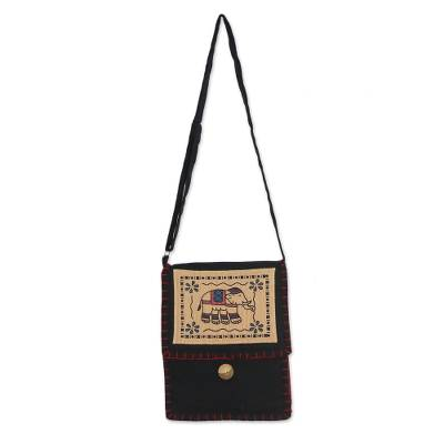Artisan Handmade Black Cotton Sling Bag Elephant Thailand