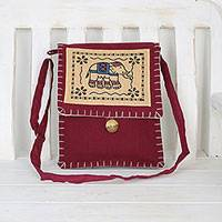 Cotton sling bag, 'Graceful Elephant in Berry' - Artisan Handmade Red Cotton Sling Bag Elephant Thailand