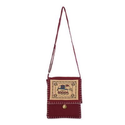 Artisan Handmade Red Cotton Sling Bag Elephant Thailand