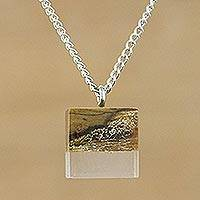 Teakwood pendant necklace, 'Woodland Cube' - Wood Cube Pendant Necklace on Rhodium Plated Chain