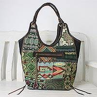 Leather accent cotton blend shoulder bag, 'Gorgeous Geometry in Green' - Handmade Patchwork Geometric Cotton Blend Shoulder Bag