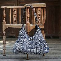 Leather accented cotton blend shoulder bag, 'Graceful Geometry in Blue' (Thailand)