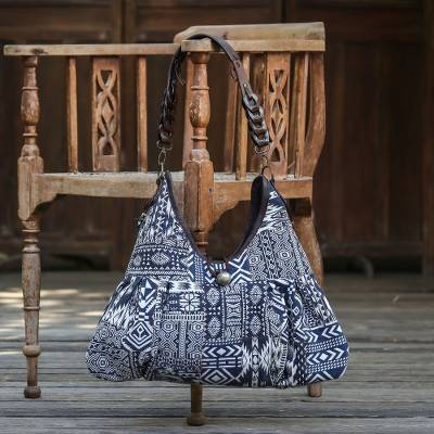 Leather accent cotton blend shoulder bag, 'Graceful Geometry in Blue' - Artisan Handmade Cotton Blend Patchwork Shoulder Bag