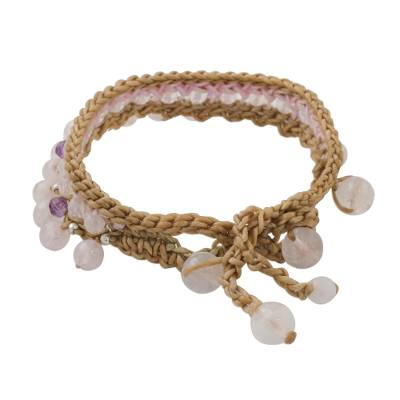 Rose quartz and amethyst beaded bracelet, 'Pink Breeze' - Rose Quartz and Amethyst Beaded Bracelet from Thailand