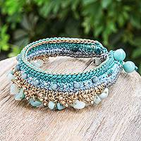 Amazonite and quartz beaded bracelet, 'Cozy Bohemian' - Amazonite and Quartz Beaded Bracelet from Thailand