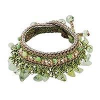 Prehnite and quartz beaded bracelet, 'Cozy Bohemian' - Prehnite and Quartz Beaded Bracelet from Thailand