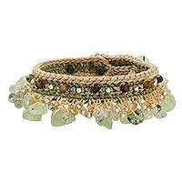 Prehnite and agate beaded bracelet, 'Cozy Bohemian' - Prehnite and Agate Beaded Bracelet from Thailand