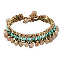 Aventurine beaded bracelet, 'Earthen Breeze' - Aventurine and Calcite Beaded Bracelet from Thailand