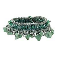 Quartz and aventurine beaded bracelet, 'Cozy Bohemian' - Quartz and Aventurine Beaded Bracelet from Thailand