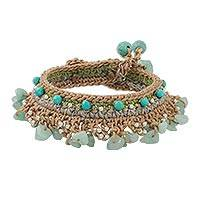 Amazonite beaded bracelet, 'Cozy Bohemian' - Amazonite and Calcite Beaded Bracelet from Thailand