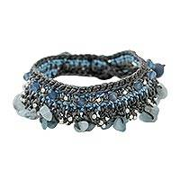 Aquamarine and quartz beaded bracelet, 'Cozy Bohemian' - Aquamarine and Quartz Beaded Bracelet from Thailand