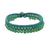 Quartz beaded anklet, 'Sweet Bohemian' - Green Quartz Beaded Anklet Handcrafted in Thailand
