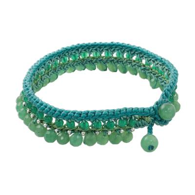 Green Quartz Beaded Anklet Handcrafted in Thailand