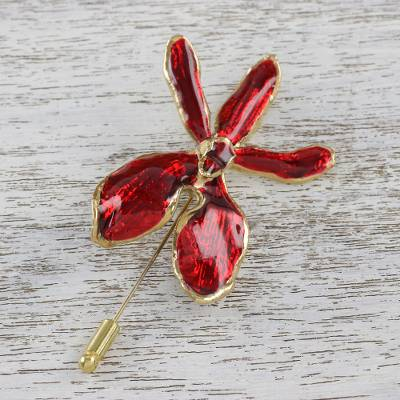 Gold-accented natural orchid stickpin, 'Chiang Mai Orchid' - Gold Plated Natural Orchid and Gold Plated Brass Stickpin