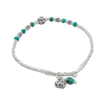 Reconstituted Turquoise Beaded Bracelet from Thailand