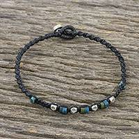 Silver beaded bracelet, 'Happy Karen' - Karen Silver and Recon Turquoise Bracelet from Thailand