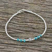 Silver beaded bracelet, 'Breezy Ocean' - Karen Silver and Turquoise Beaded Bracelet from Thailand