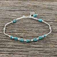 Silver beaded bracelet, 'Leafy Hex' - Leafy Silver and Recon Turquoise Bracelet from Thailand
