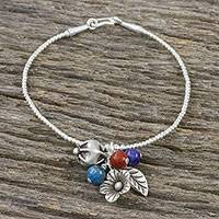 Multi-gemstone charm bracelet, 'Growing Beauty' - Multi-Gemstone Beaded Charm Bracelet from Thailand