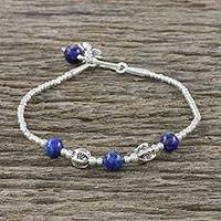 Lapis lazuli beaded bracelet, 'Floral Dream' - Lapis Lazuli and Karen Silver Beaded Bracelet from Thailand