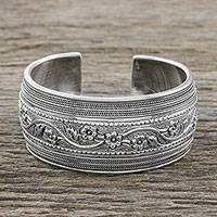 Sterling silver cuff bracelet, 'Perfect Paradise' - Handmade Sterling Silver Floral Cuff Bracelet from Thailand