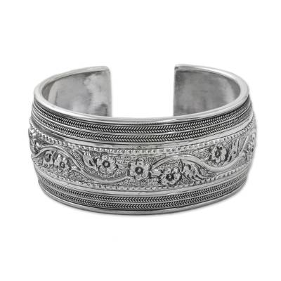 Handmade Sterling Silver Floral Cuff Bracelet from Thailand