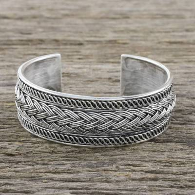 Sterling silver cuff bracelet, Woven Way