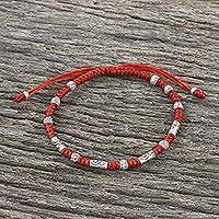Silver beaded cord bracelet, 'The Balance' - Red Unisex 950 Karen Silver Cord Beaded Bracelet