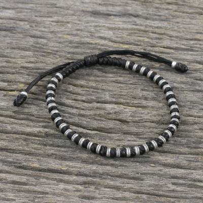 Silver beaded cord bracelet, 'Endeavor in Black' - Artisan Crafted Cord Bracelet with 950 Silver Beads