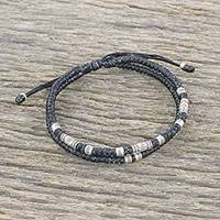 Silver beaded cord bracelet, 'Double Luck in Black' - Thai Hill Tribe Style Unisex Silver Beaded Cord Bracelet
