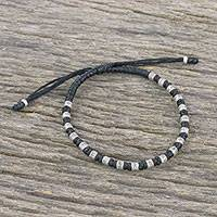 Silver beaded cord bracelet, 'Enterprise in Black' - Braided Black Cord Bracelet Handmade in Thailand