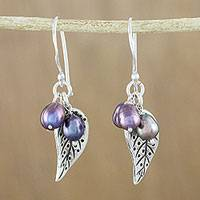 Cultured pearl dangle earrings, 'Lively Leaves in Grey' - Grey Cultured Pearl and Silver Leaf Earrings from Thailand