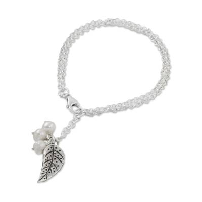 Cultured Pearl Leaf Charm Bracelet in White from Thailand
