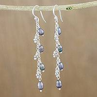 Cultured pearl dangle earrings, 'Purity of Life in Grey' (Thailand)