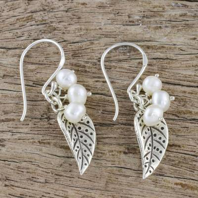 Cultured pearl dangle earrings, 'Lively Leaves in White' - Cultured Pearl Leaf Dangle Earrings in White from Thailand