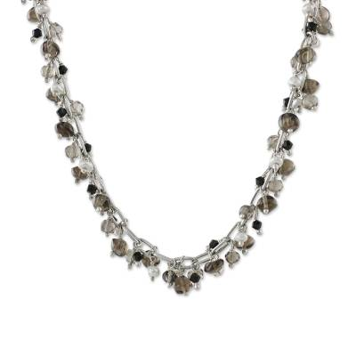 Smoky Quartz and Pearl Beaded Necklace from Thailand