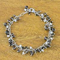 Smoky quartz and cultured pearl beaded bracelet,