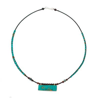 Multi Gemstone Beaded Necklace in Turquoise and Brown Hues