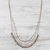 Long agate and copper necklace, 'Lampang Blues' - Long Multi-Strand Copper Necklace with Agate Beads