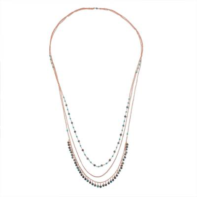 Long Multi-Strand Copper Necklace with Agate Beads