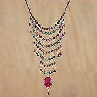 Garnet and quartz statement necklace, 'Charming Grapes' - Garnet and Quartz Statement Necklace from Thailand