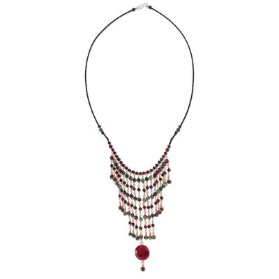 Garnet and Quartz Statement Necklace from Thailand