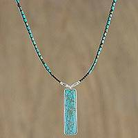 Long magnesite pendant necklace, 'Chao Phraya Currents' - Turquoise-Colored Beaded Pendant Necklace with 950 Silver