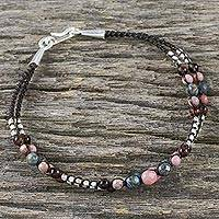 Multi-gemstone beaded bracelet, 'Captivating Colors' - Multi Gemstone Beaded Macrame Bracelet with 925 Silver