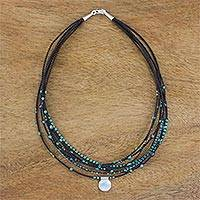 Agate beaded pendant necklace, 'Exotic Karen' - Agate and Silver Beaded Pendant Necklace from Thailand