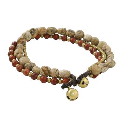 Multi-Strand Jasper and Brass Beaded Bracelet from Thailand